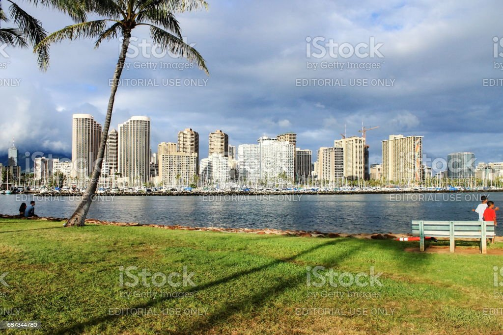 View from Ala Moana Beach Park looking towards Ala Wai Boat Harbor stock photo
