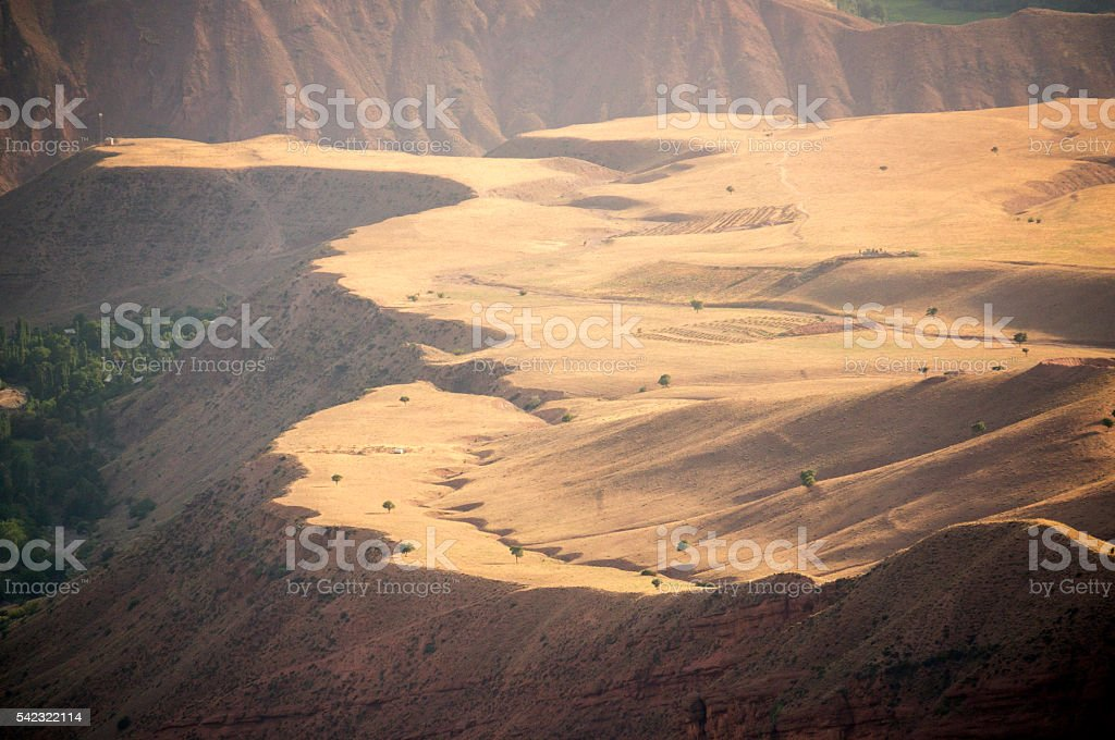 View from Alamut Castle of the Assassins, Iran stock photo