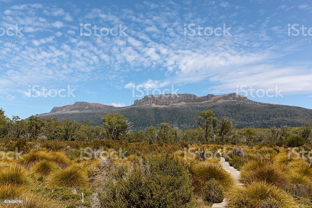View from along the Overland Track in Tasmania stock photo