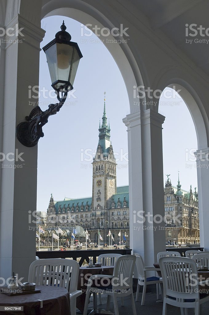 View from Alster Arcades to Town Hall of Hamburg, Germany stock photo