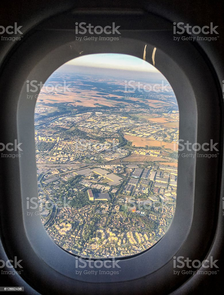 View from an Airplane landing in Paris, France stock photo