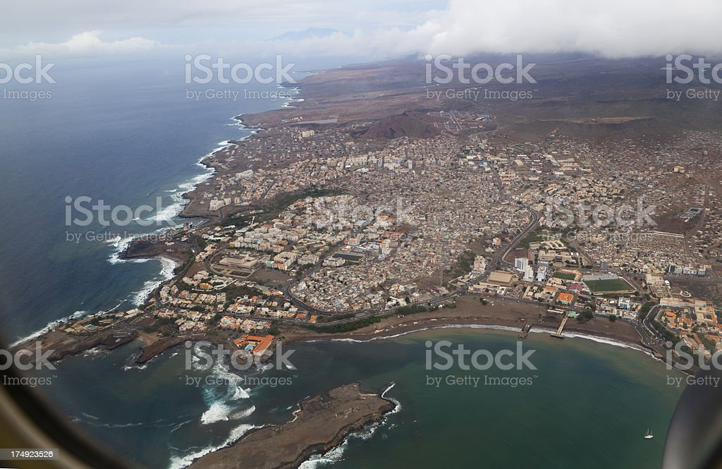View from an airplane window of the city of Praia stock photo