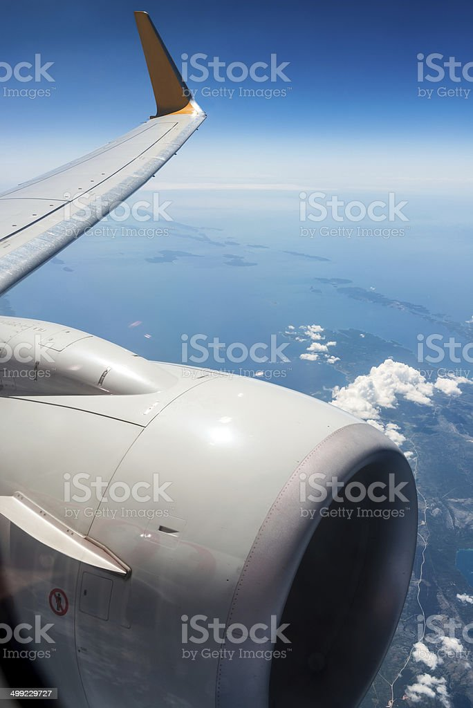 View From An Airplane Window stock photo