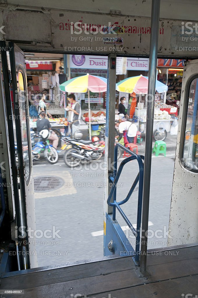 View From An Open Bus Door In Bangkok, Thailand royalty-free stock photo