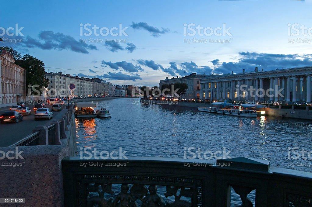View from Anichkov Bridge in Saint-Petersburg, Russia stock photo
