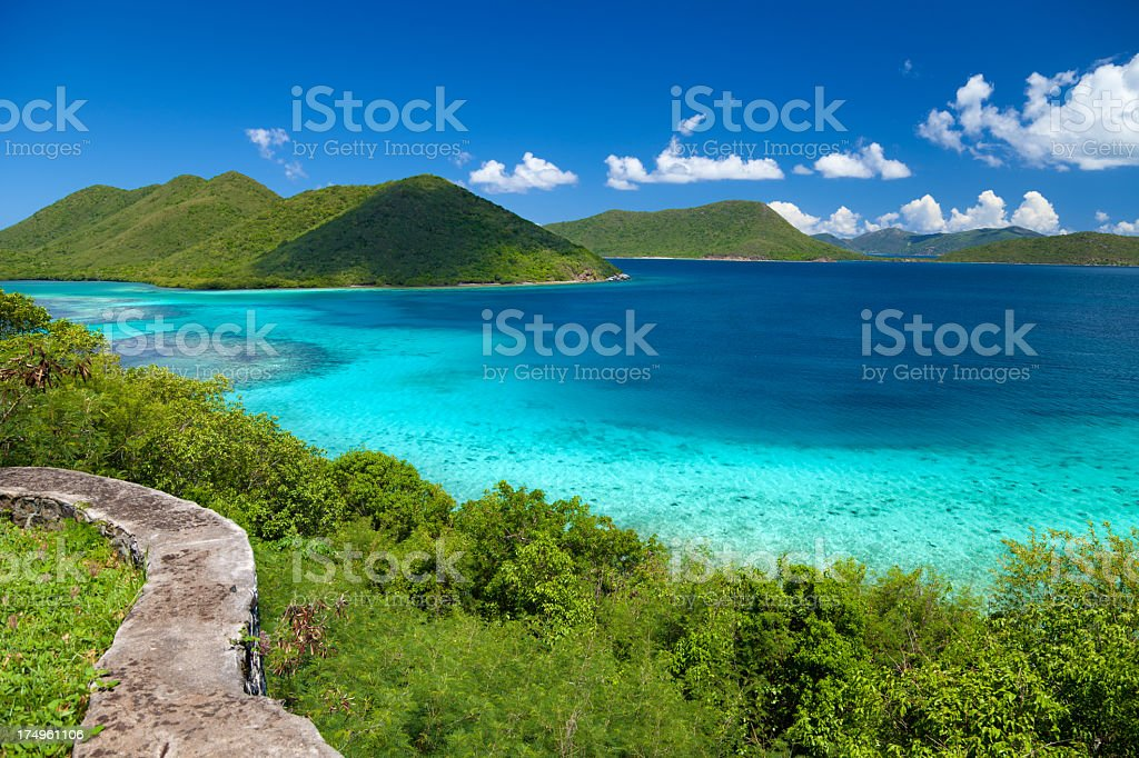 view from Annaberg Ruins to Leinster Bay, St.John, USVI stock photo