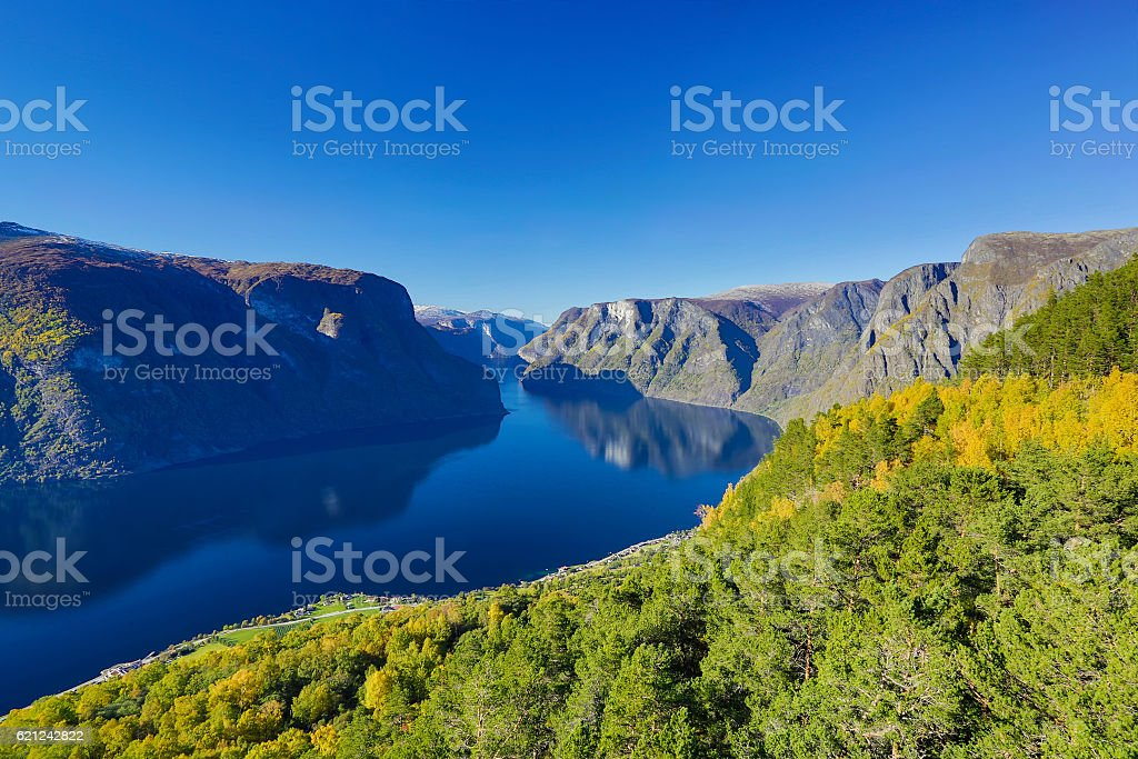 View from Aurland balcony. stock photo