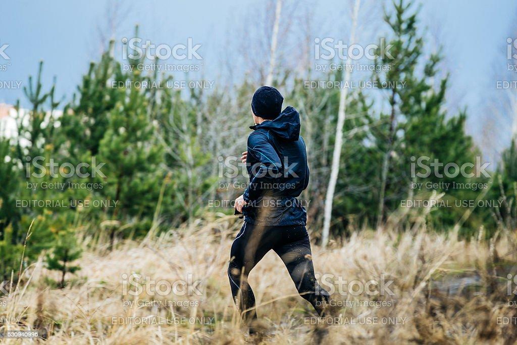 뷰-등근육 젊은 숫나사 마라톤 선수 royalty-free 스톡 사진