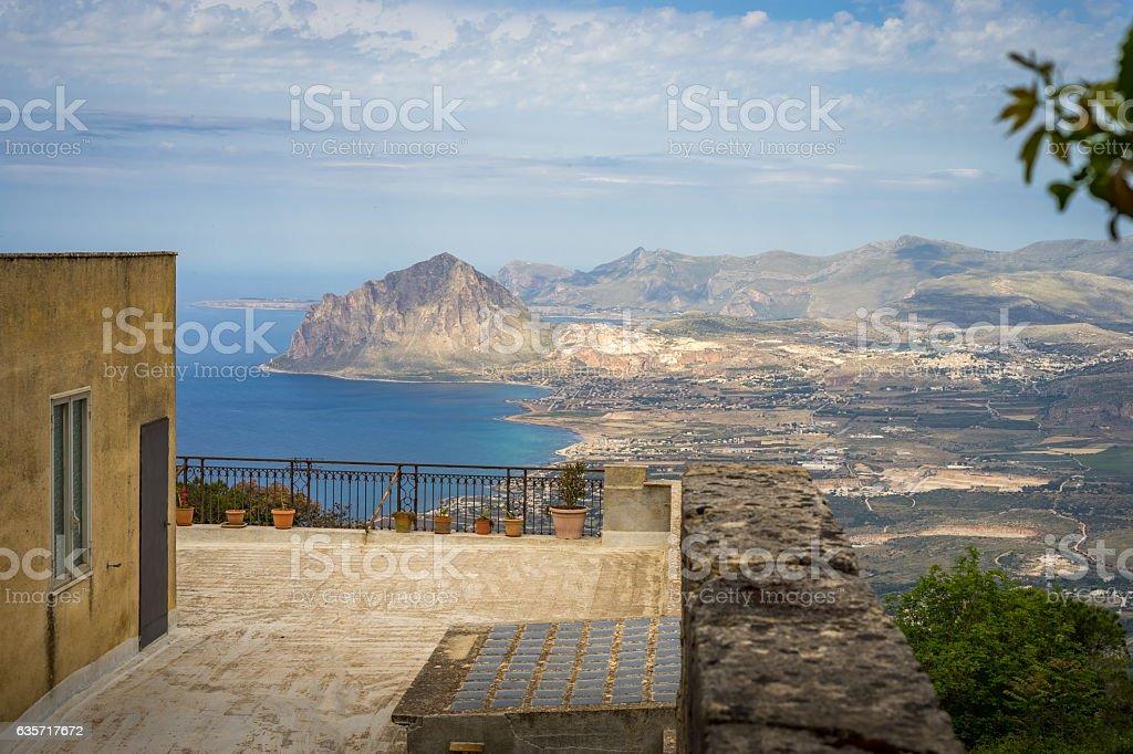 view from balcony on Cofano mount stock photo