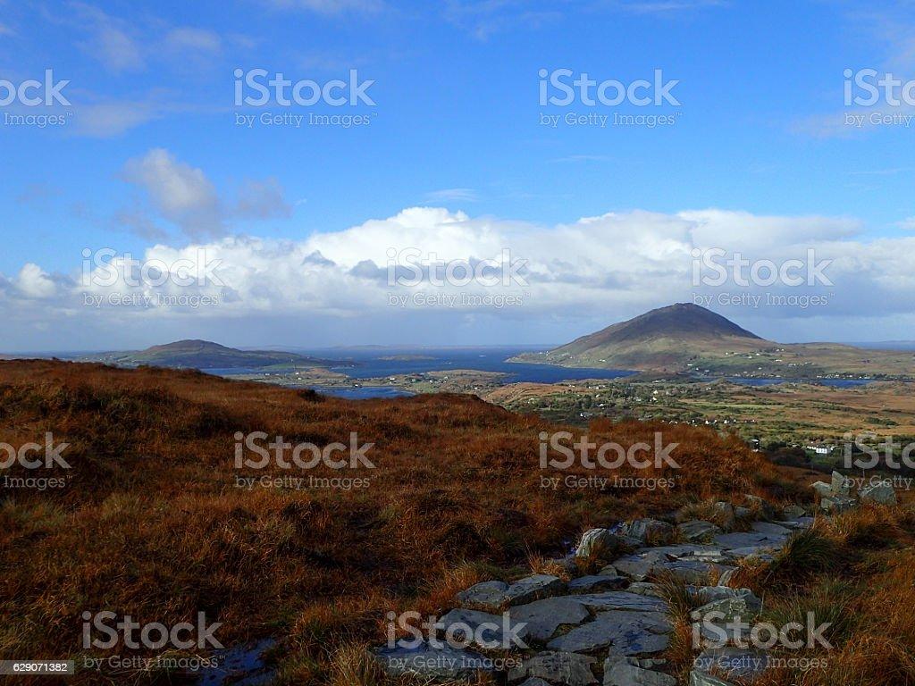 View from base of Diamond Hill, Connemara stock photo