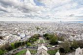 View from Basilique du sacre coeur on Paris, France