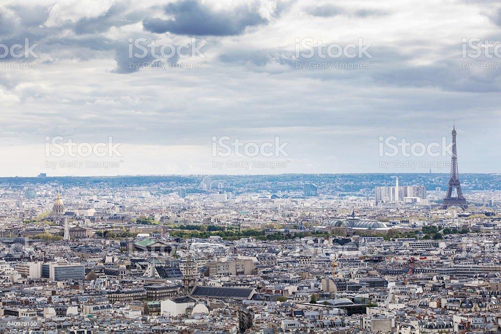 View from Basilique du sacre coeur on Paris, France stock photo