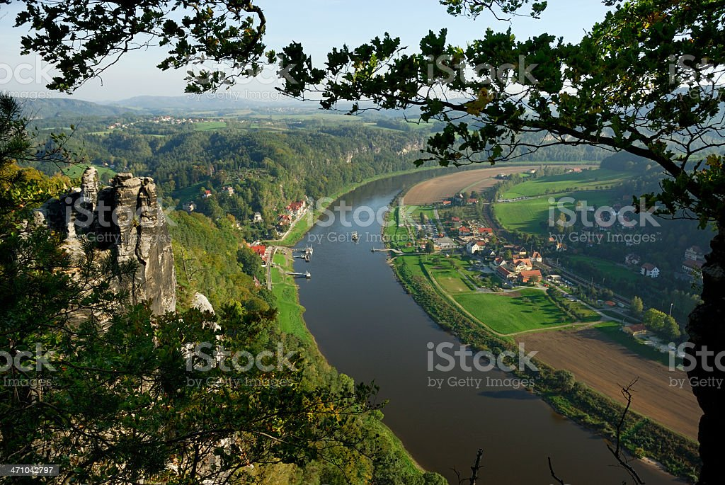 View from 'Bastei' on river Elbe stock photo
