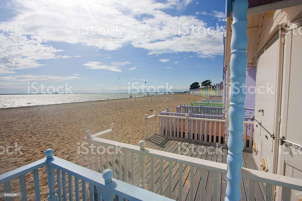 Blick vom Strandhütten Auf mersea Lizenzfreies stock-foto