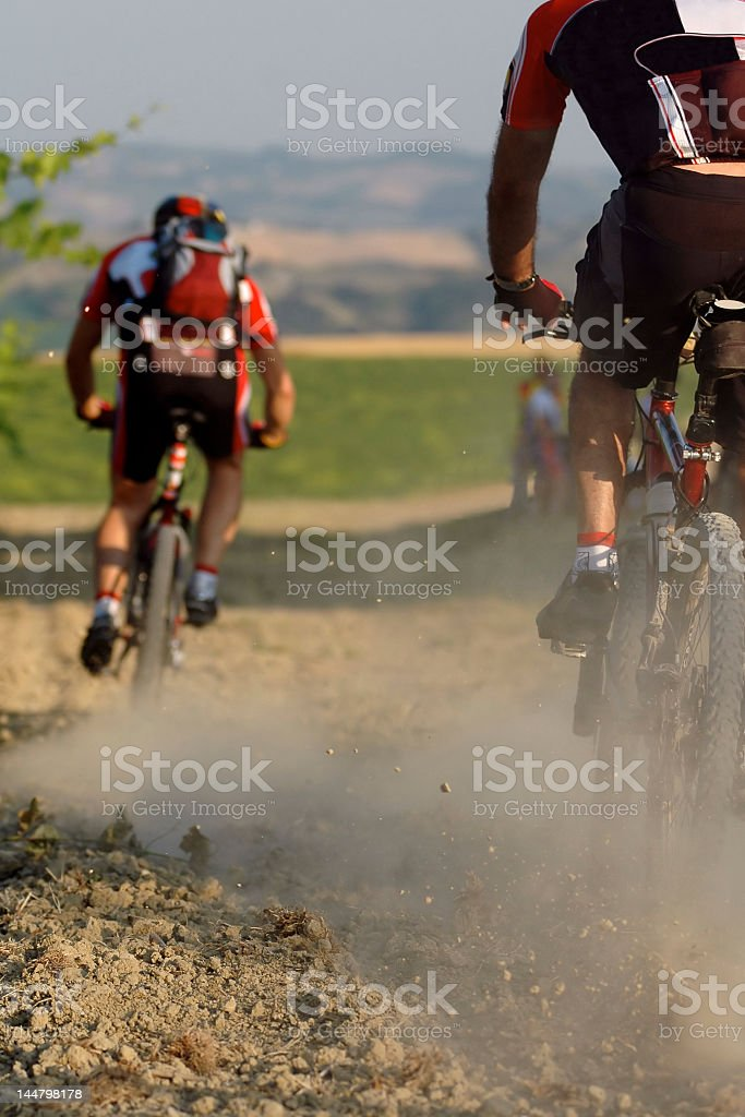 View from behind bikers during a biking event royalty-free stock photo