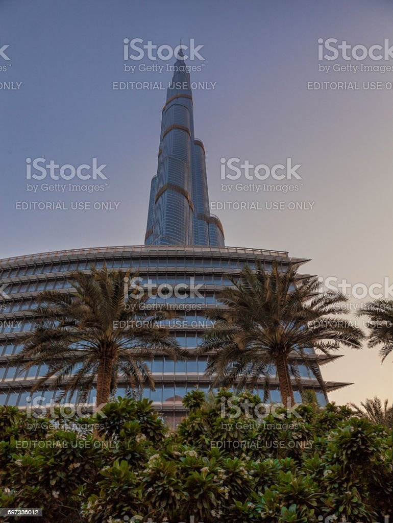 UAE/DUBAI - 14 SEP 2012 - View from below of the great burj khalifa building stock photo