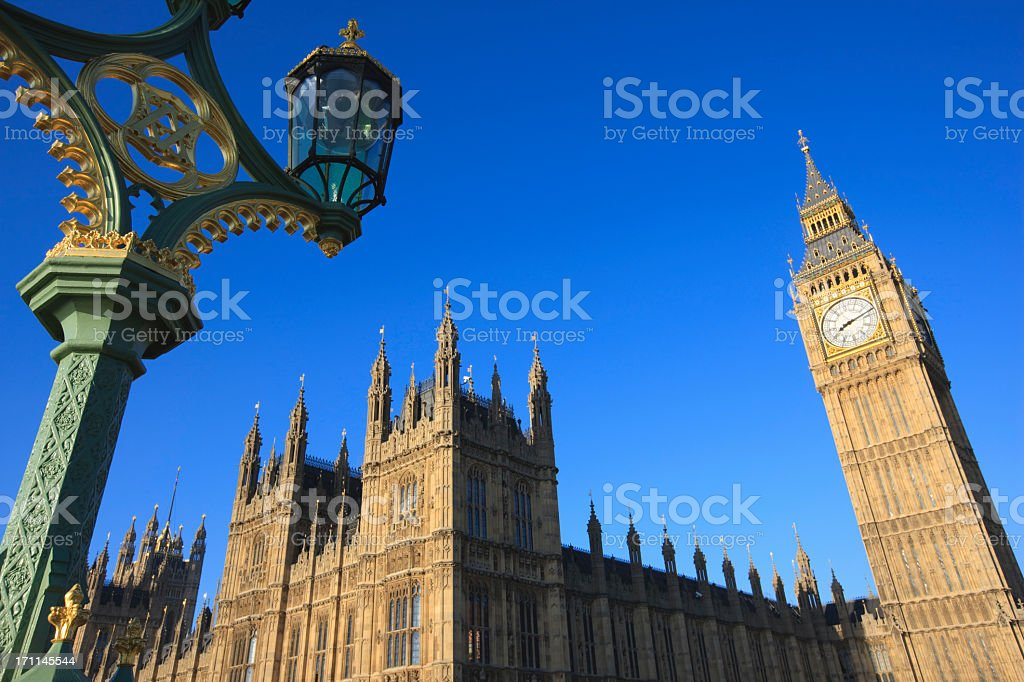 View from below of the Houses of Parliament in London stock photo