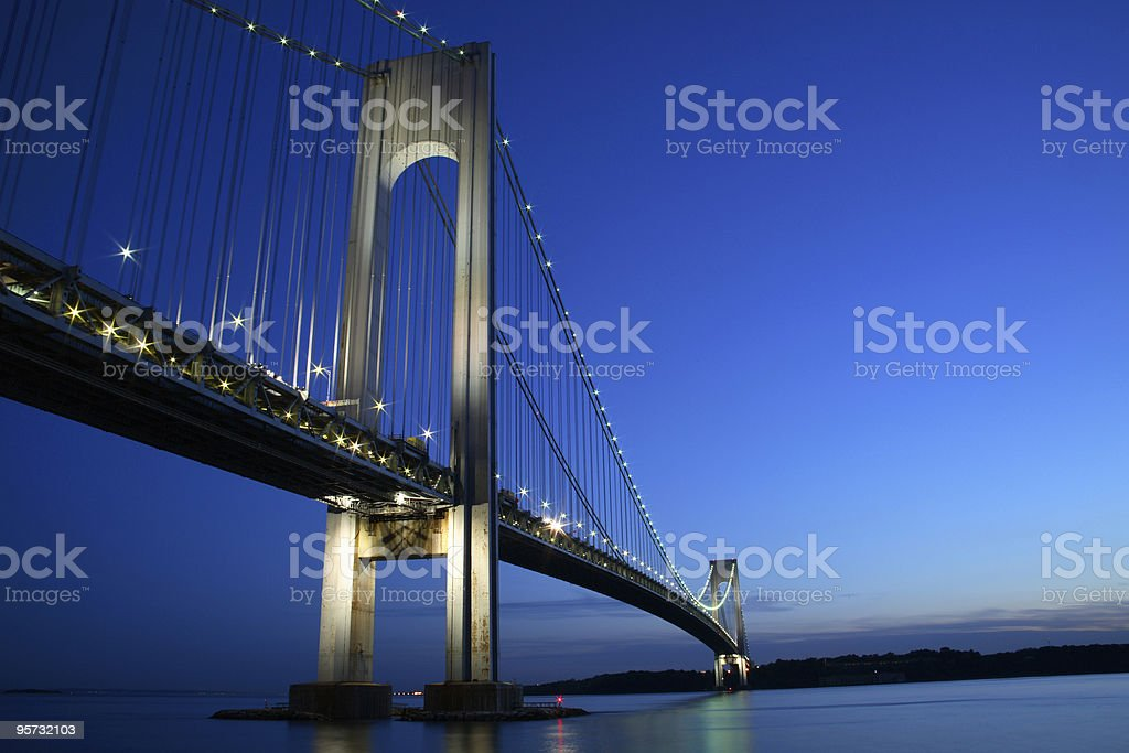 View from below of the Verrazano-Narrows Bridge in New York  stock photo