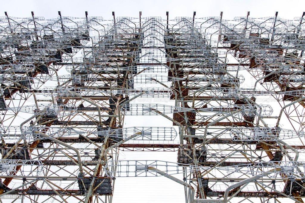 View from below radar Duga. Chernobyl, Ukraine. stock photo