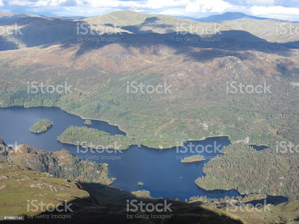 View from Ben Venue in Central Scotland stock photo