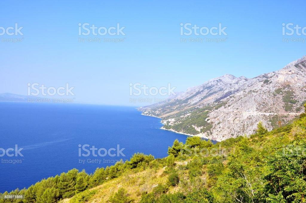View from Biokovo mountain with Adriatic sea stock photo