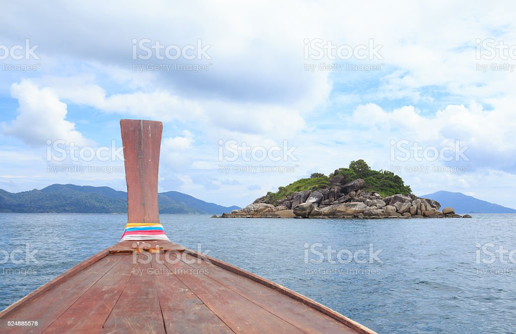 view from boat in sea to see islands desination way stock photo