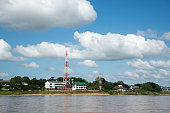 View from boat on Khong river .