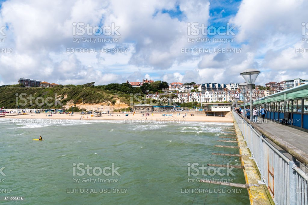 View from Boscombe Pier to the beach and cliffs stock photo