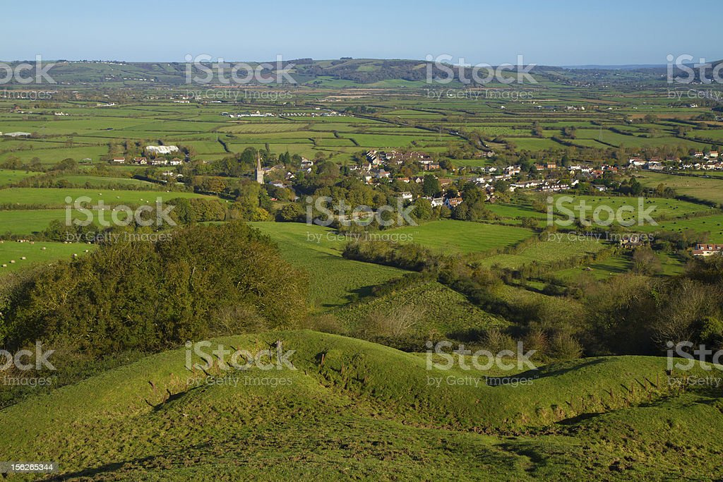 View from Brent Knoll Somerset to the Mendip Hills stock photo