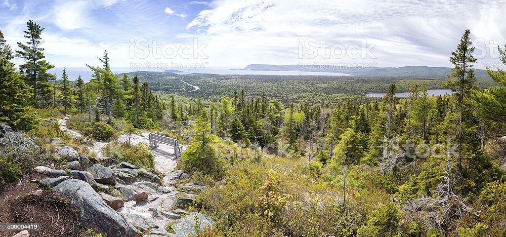 View from Broadcove Mountain, Cape Breton Highlands National Park, Canada stock photo