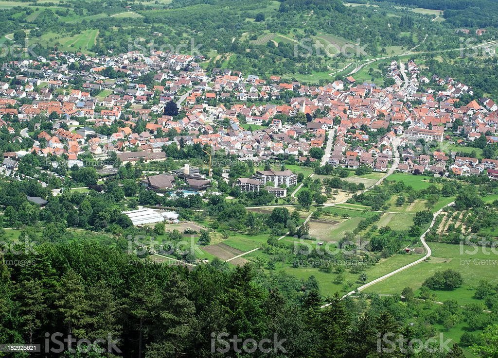 View from building Hohenneuffen to Beuren stock photo