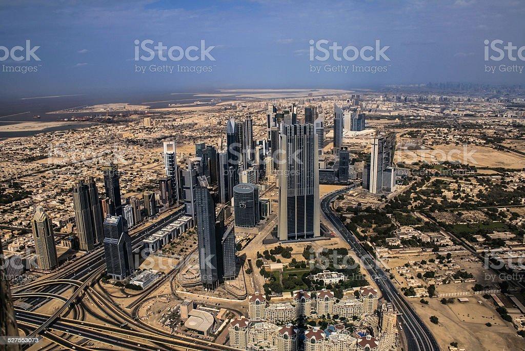 view from burj khalifa in Dubai stock photo