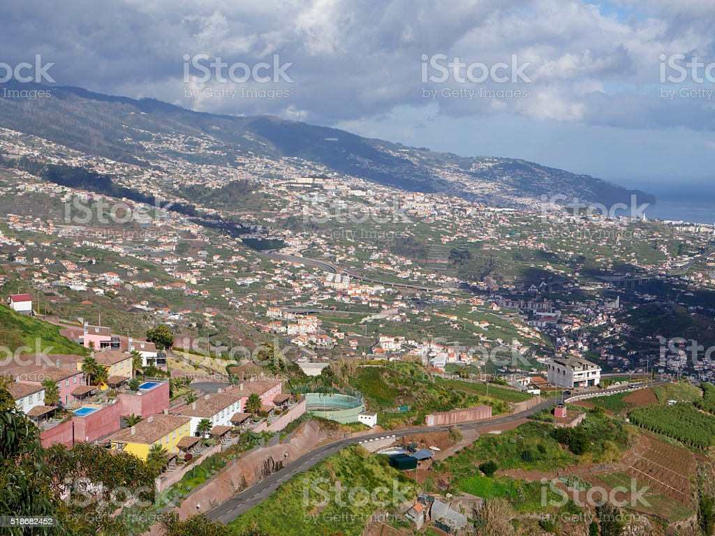 View from Cabo Girao Madeiras highest cliff stock photo