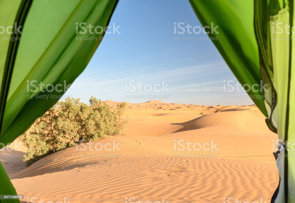 View from camp on sand dunes. Erg Chebbi Sand dunes near Merzouga, Morocco stock photo