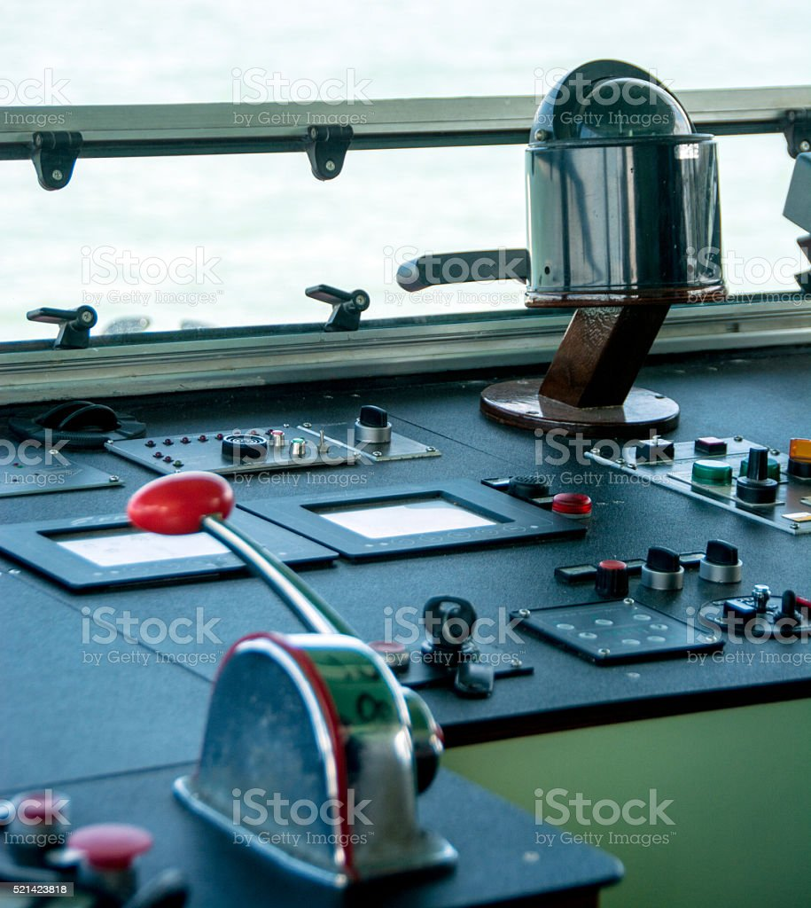 View from captains' vaperetto cabin with controls stock photo