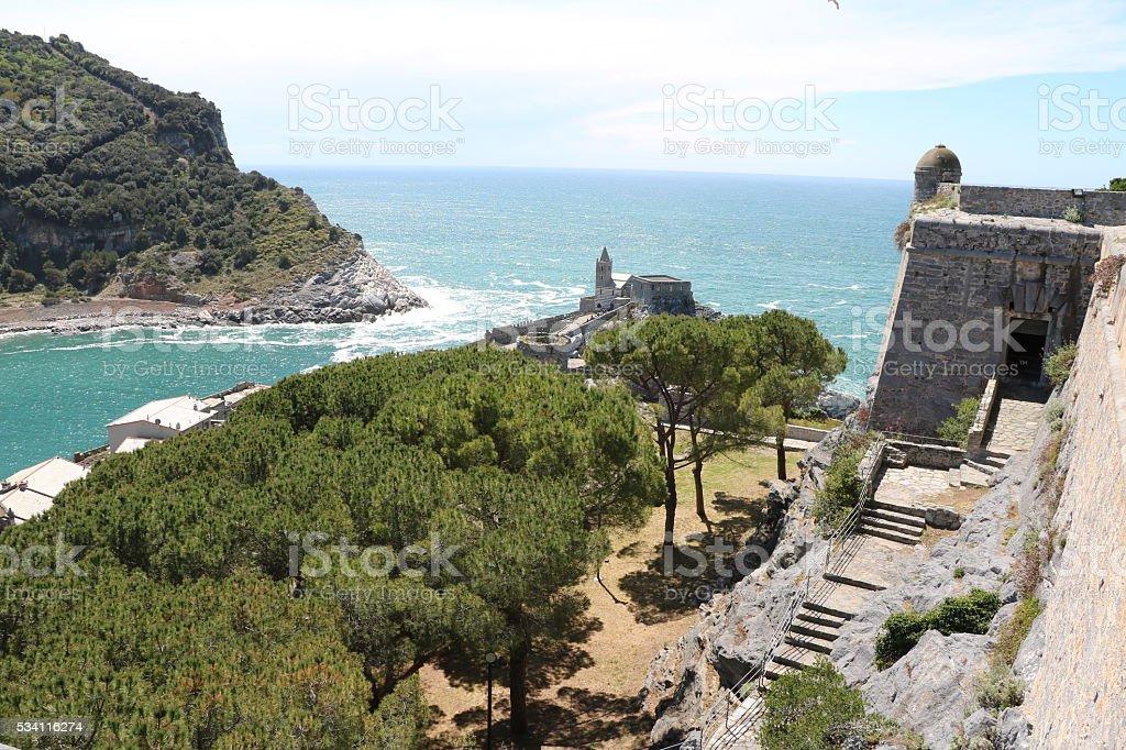 View from Castello Porto Venere Liguria in Italy stock photo