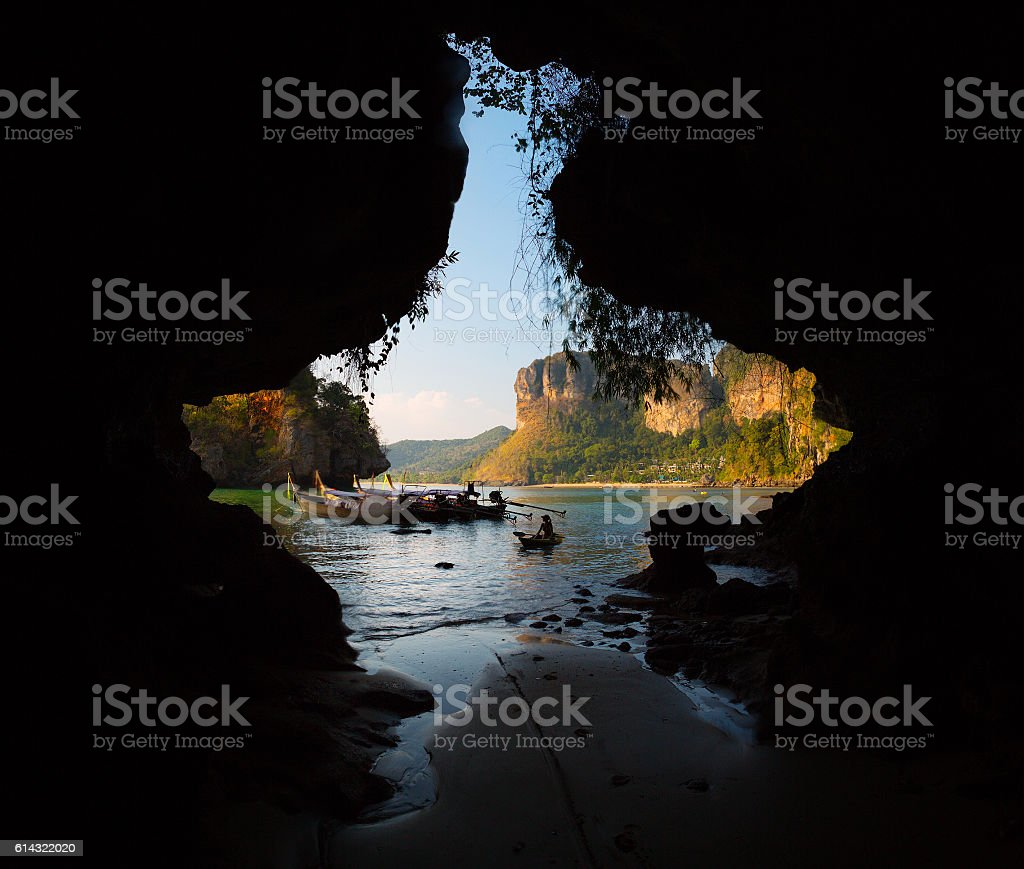 View from cave stock photo