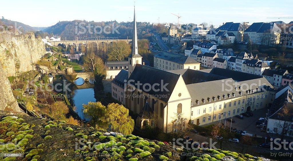 View from Chemin de la Corniche in the Luxembourg City. stock photo