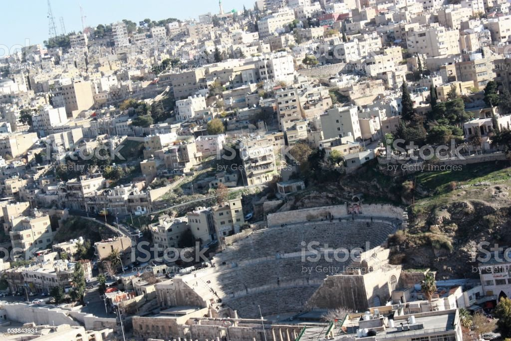 View from Citadel to Amman and Roman Theater, Jordan stock photo