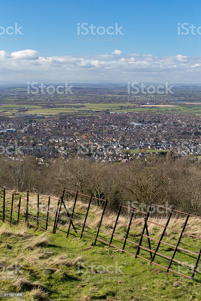 View from Cleeve Hill, looking down onto Cheltenham stock photo