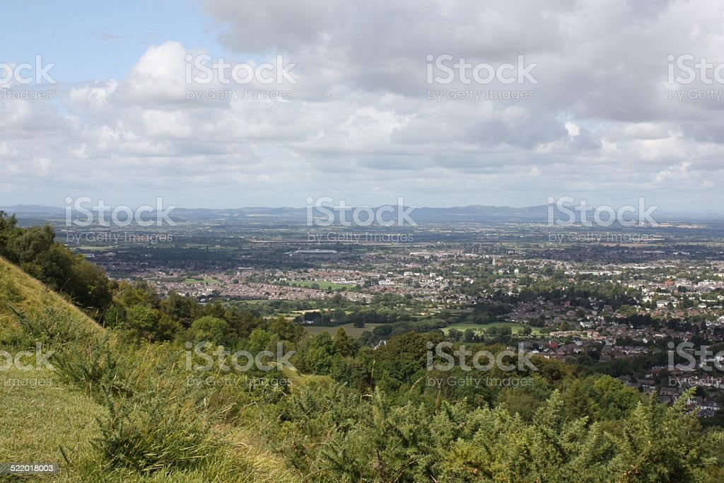 View from Cleeve Hill, looking towards Cheltenham. stock photo
