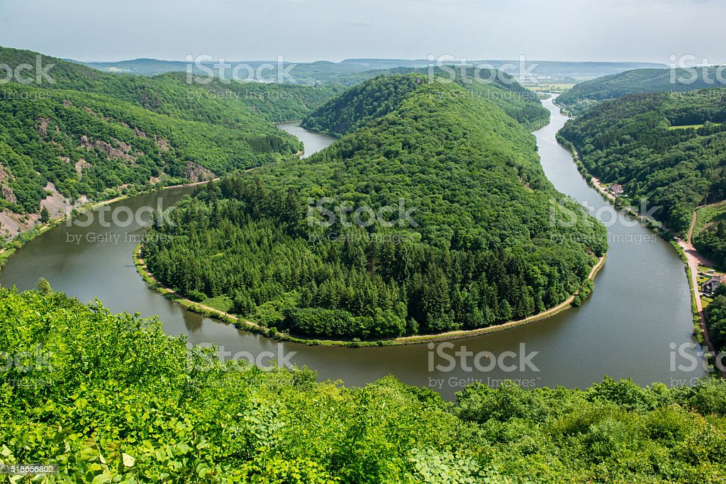 View from Cloef to Saarschleife, Saar river, Germany stock photo