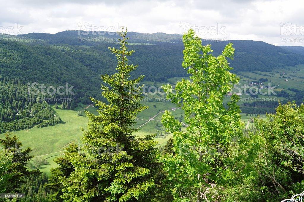 View from Col de la Faucille, Jura, Ain Region, France stock photo