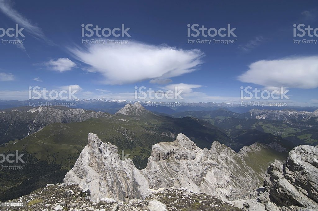 View from Col di Puez, Dolomites stock photo