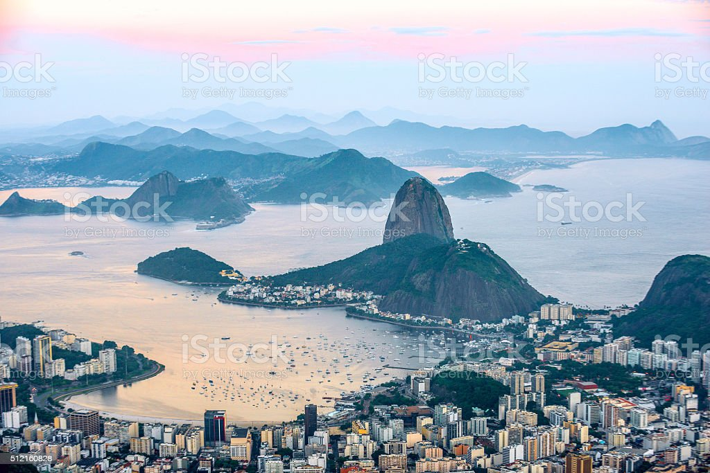 View from Corcovado to Sugarloaf Mountain stock photo