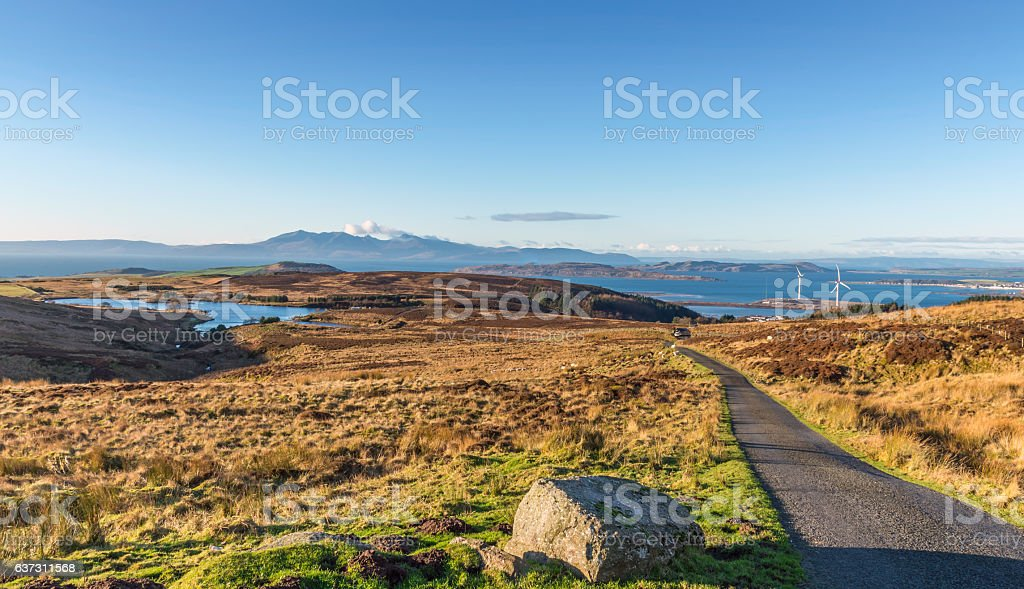 View from Dalry Moor Road over to Arran Ayrshire stock photo