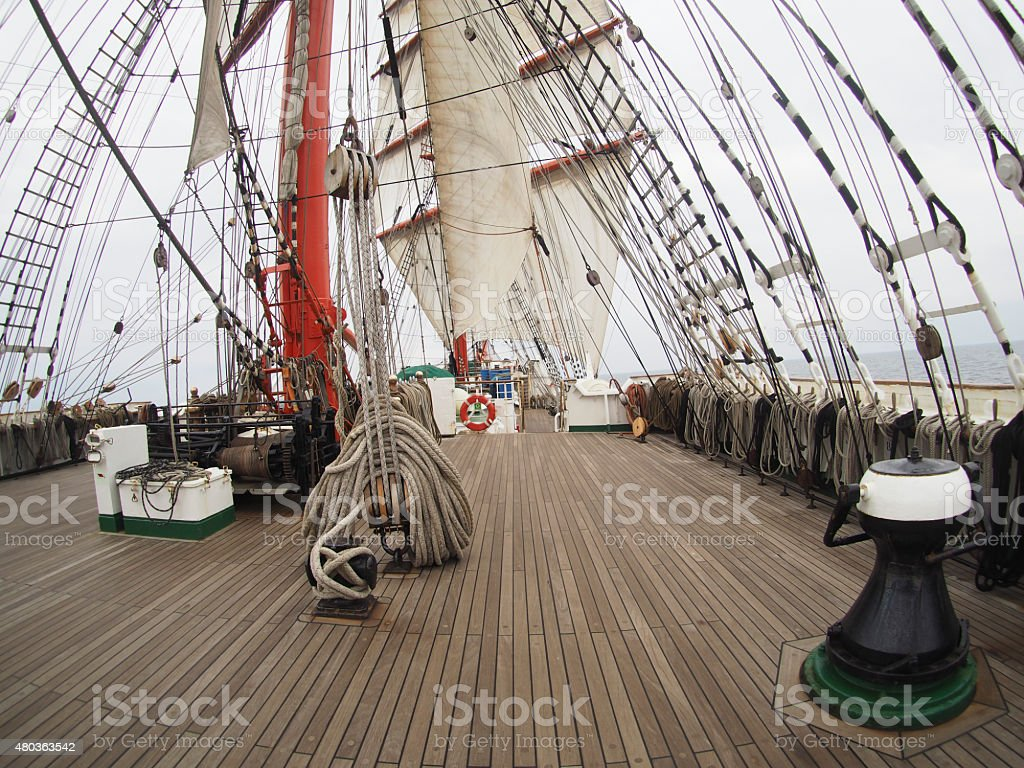 view from deck of a huge tallship or sailboat stock photo