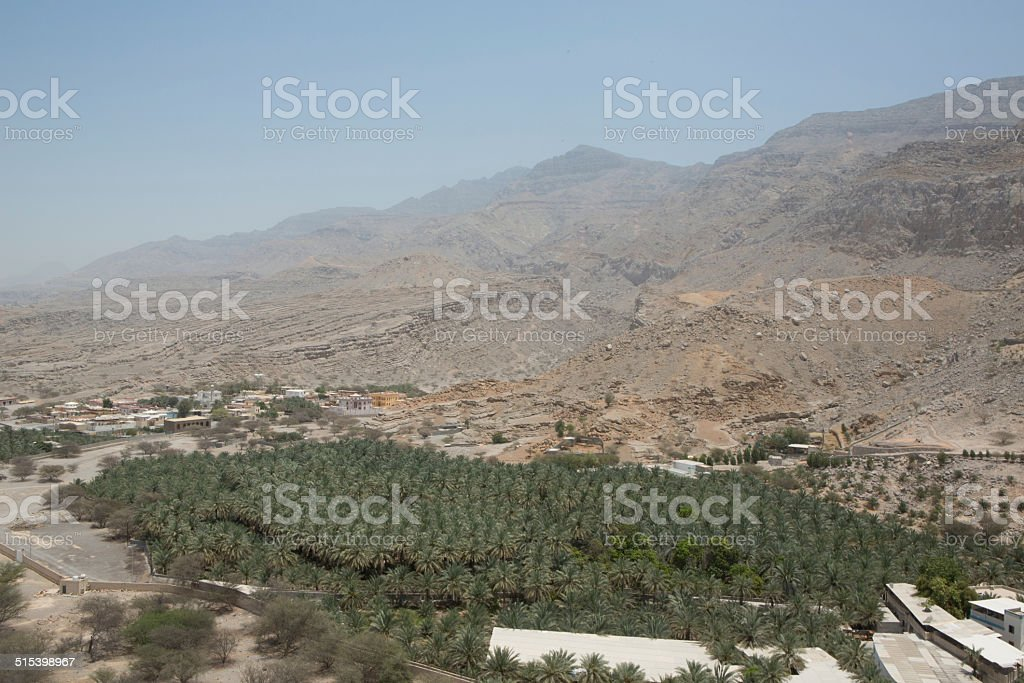 View from Dhayah Fort overlooking Musandam Peninsula, Oman stock photo