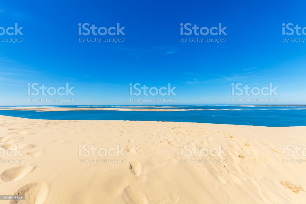 View from Dune of Pyla, Arcachon Bay stock photo