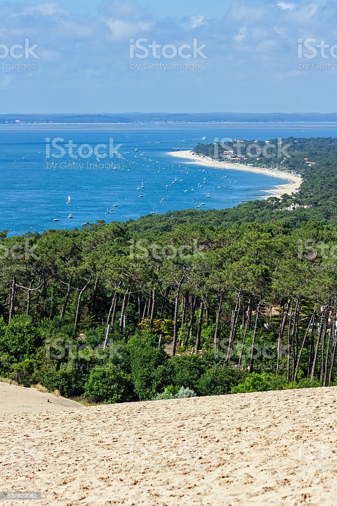 View from dune of Pyla onto the Bassin d'Arcachon stock photo
